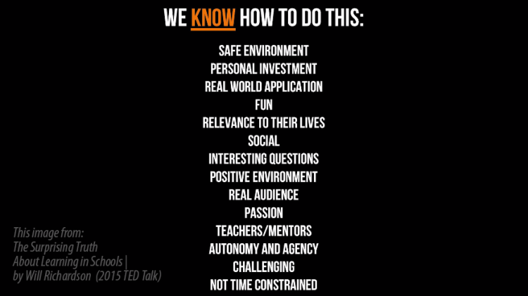 Slide image from Will Richardson 2015 TED Talk with a list of stating we know how to do this